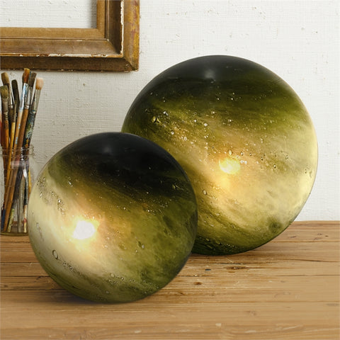 Set of 2 Green Galaxy Deep Green Table Lamps Includes 2 Sizes design by Tozai