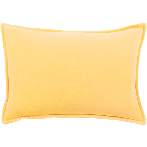 Cotton Velvet Pillow in Bright Yellow