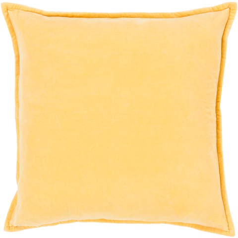 Cotton Velvet Pillow in Bright Yellow by Surya