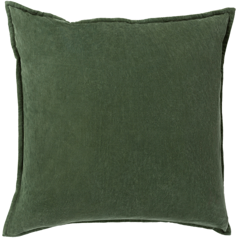 Cotton Velvet Pillow in Dark Green by Surya
