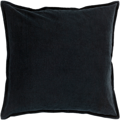 Cotton Velvet Pillow in Black