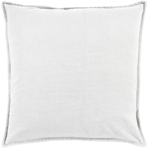 Cotton Velvet Pillow in Light Gray by Surya