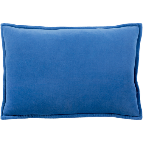 Cotton Velvet Pillow in Dark Blue by Surya