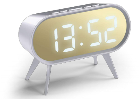 Cyborg Alarm Clock in White and Gold