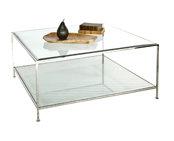 Nickel Plated Square Coffee Table with Beveled Glass Tops