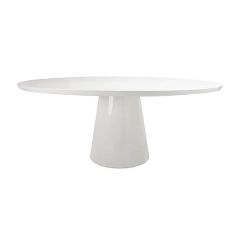 Oval White Lacquer Dining Table
