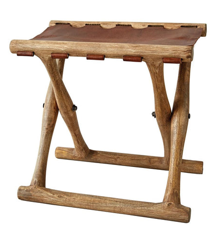 Mango Wood & Leather Folding Stool design by BD Edition