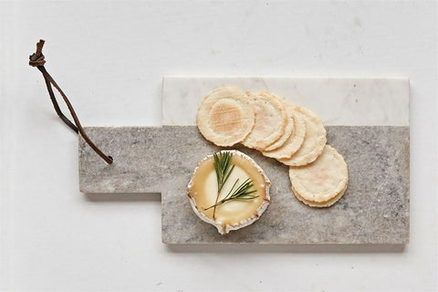 Marble Cheese Board w/ Leather Tie in Grey & White design by BD Edition
