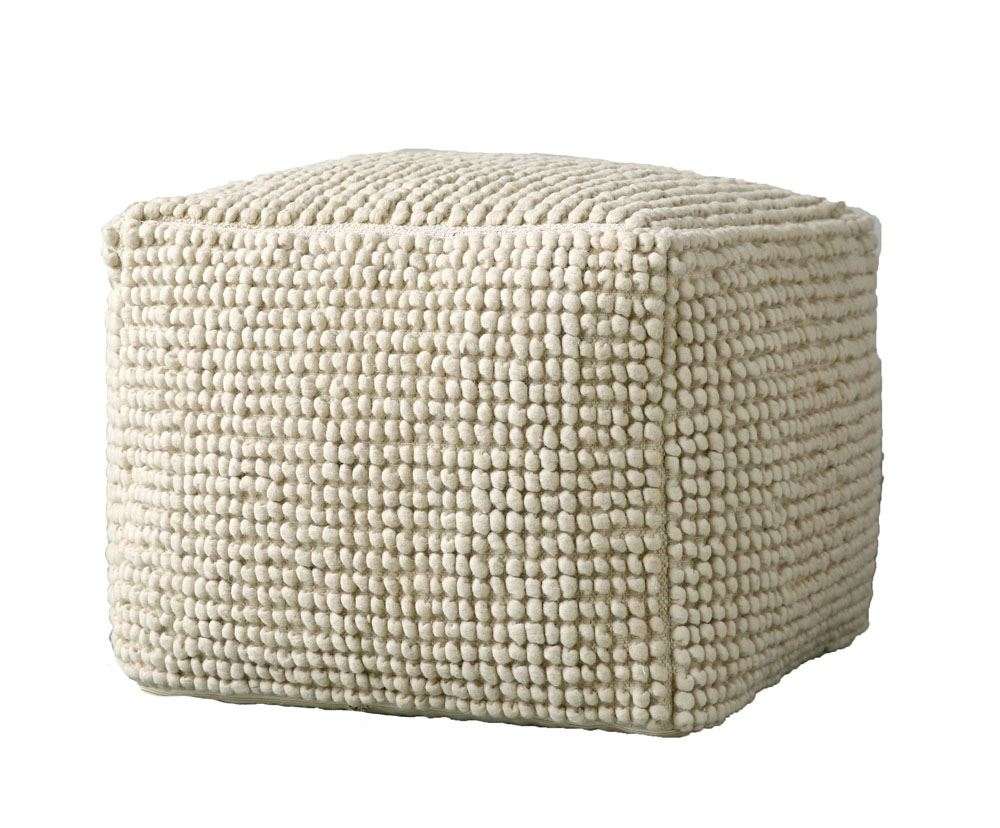 new zealand wool & cotton pouf in natural designbd edition