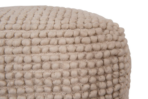 New Zealand Wool & Cotton Pouf in Natural