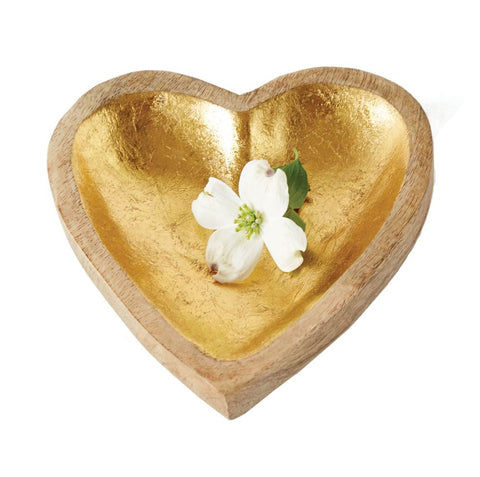 Mango Wood Heart Tray w/ Gold Leaf Inside design by BD Edition