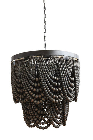 Metal & Wood Beads Chandelier w/ 3 Lights in Black design by BD Edition