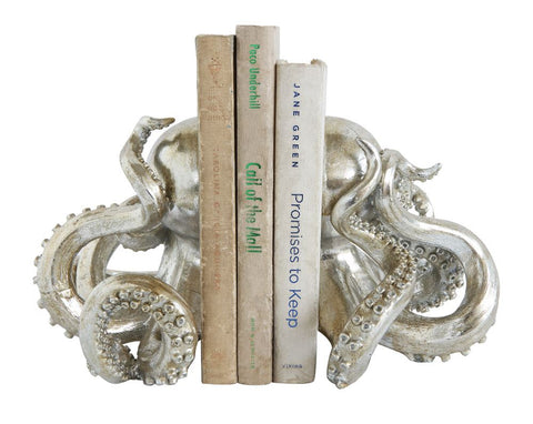 Set of 2 Octopus Bookends in Silver design by BD Edition