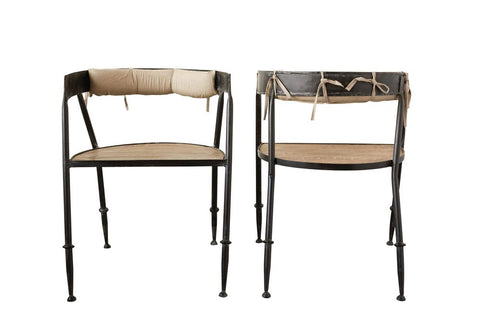 Metal Chair w/ Wood Seat & Cotton Back Cushion design by BD Edition