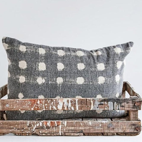Charcoal Polka Dot Pillow