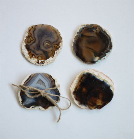 Set of 4 Round Agate Coasters in Brown design by BD Edition