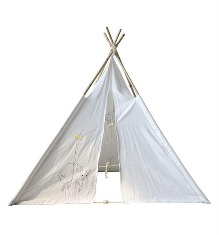 Canvas Teepee w/ Embroidered Sheep & Bamboo Poles design by BD Mini