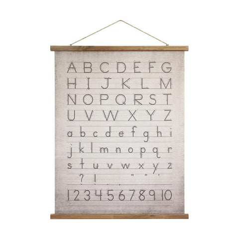 Canvas & Wood Scroll Wall Decor w/ Alphabet & Numbers