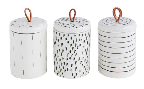 Set of 3 Stoneware Container w/ Lid & Leather Pull design by BD Edition