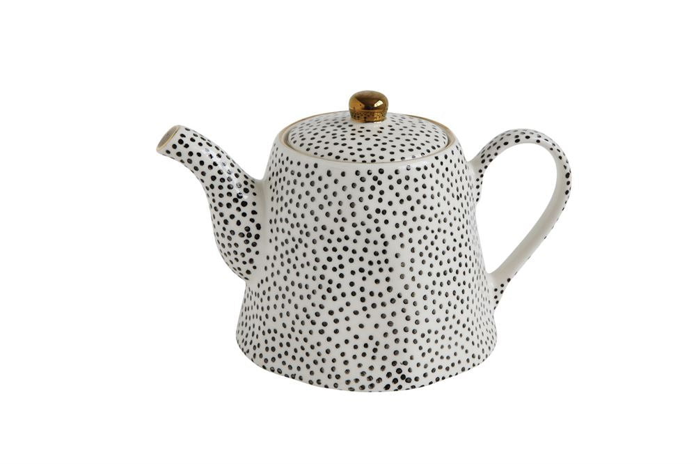 Stoneware Teapot in White w/ Black Dots & Gold Electroplating design by BD Edition