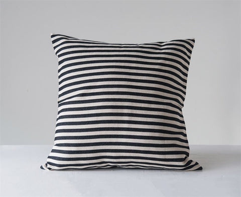 Cotton Woven Striped Pillow in Black design by BD Edition