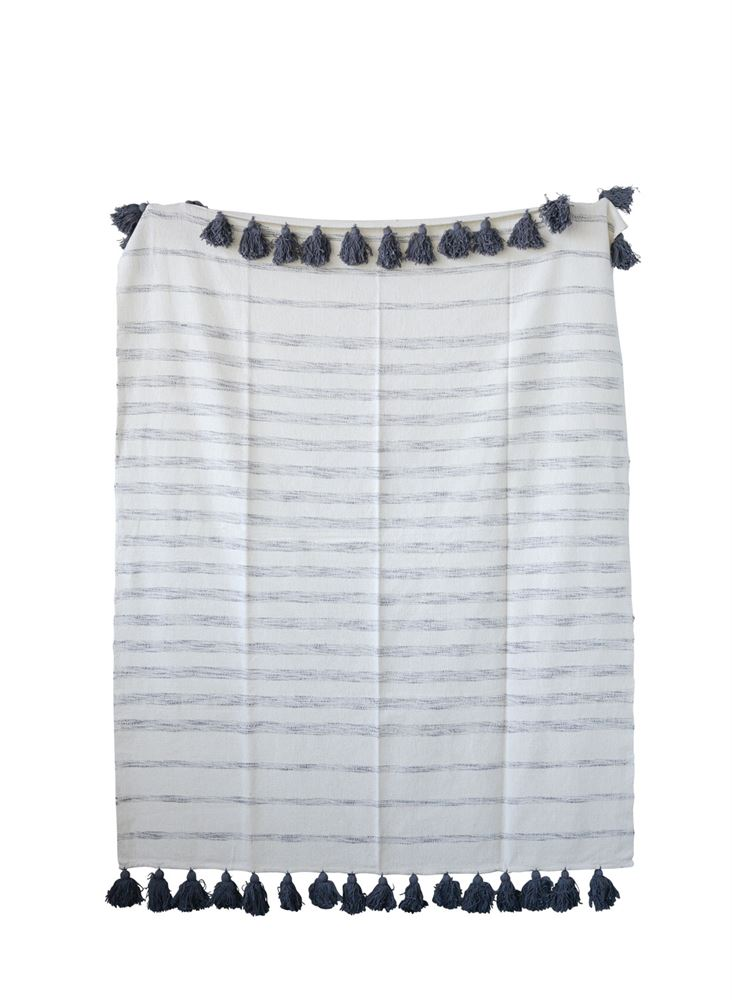 Cotton Woven Striped Throw w/ Tassels in White & Grey by BD Edition