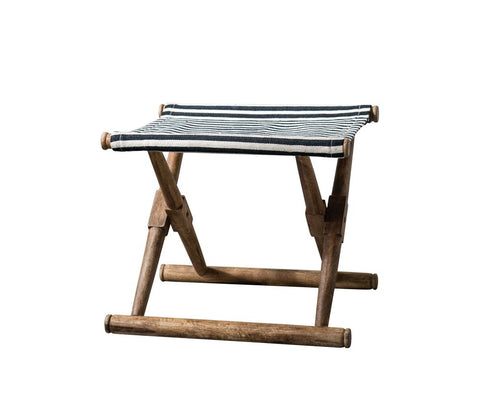 Mango Wood & Cotton Woven Striped Folding Stool in Black design by BD Edition