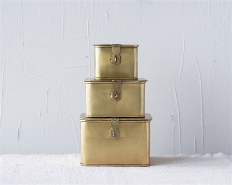 Set of 3 Square Decorative Metal Boxes in Brass Finish design by BD Edition