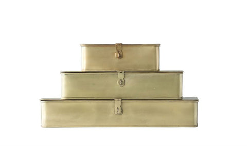 Set of 3 Decorative Metal Boxes in Brass Finish design by BD Edition