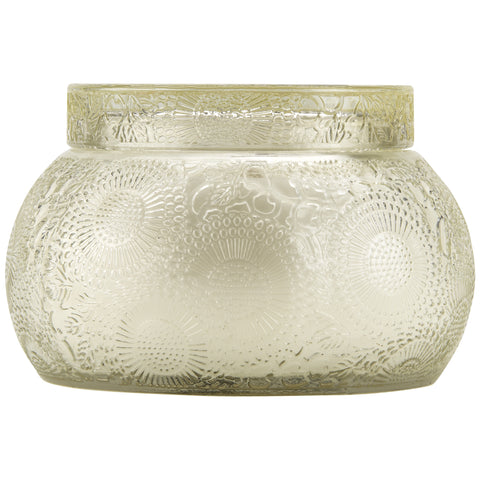 Chawan Bowl 2 Wick Embossed Glass Candle in Nissho-Soleil design by Voluspa