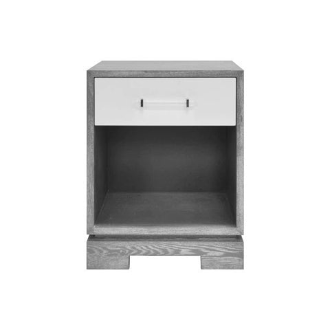 Dakota One Drawer Small Side Table w/ Acrylic & Nickel Hardware in Matte Lacquer & Grey Cerused Oak