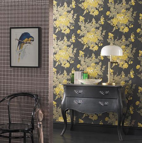 Damiera Wallpaper in gray from the Grand Tour Collection by Osborne & Little