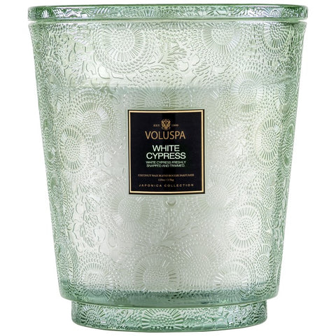 Hearth 5 Wick Glass Candle in White Cypress by Voluspa