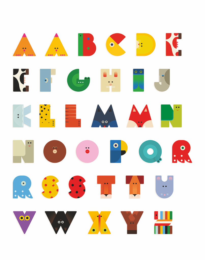 Wood Graphic Animal Letters I
