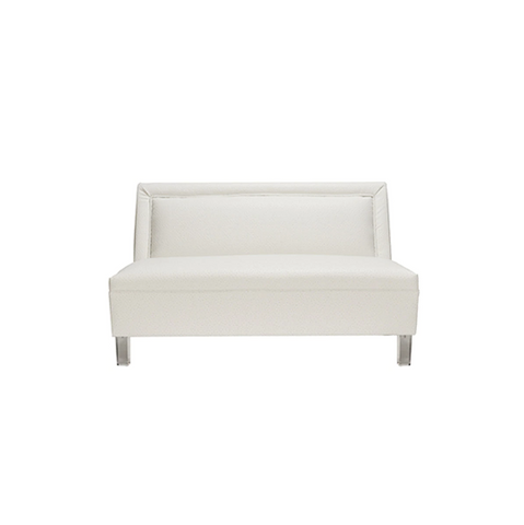 Armless Settee with Acrylic Legs in White Ostrich