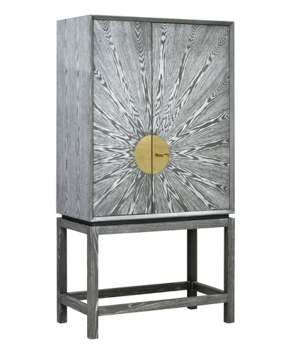 Grey Cerused Oak Bar Cabinet with Radial Pattern & Antique Brass Detailing