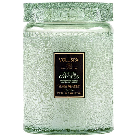 Large Embossed Glass Jar Candle in White Cypress by Voluspa