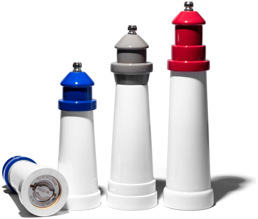 "Lighthouse Shaped Salt & Pepper Mill 6"" Blue design by Puebco"