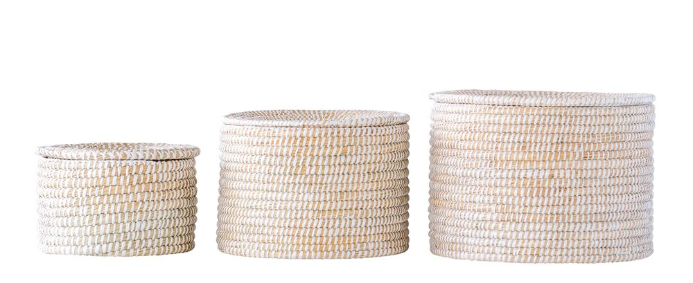 Natural Woven Seagrass Baskets with Lid.