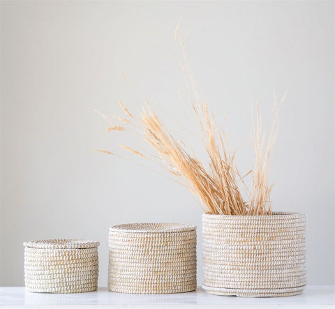Set of 3 Natural Woven Seagrass Baskets with Lid by BD Edition
