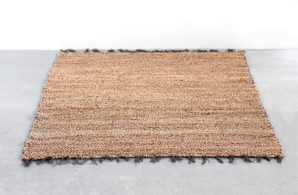 Natural Woven Water Hyacinth & Cotton Rug