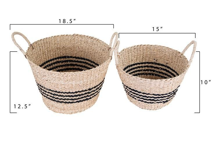 Black Striped Palm & Seagrass Baskets, Set of  2