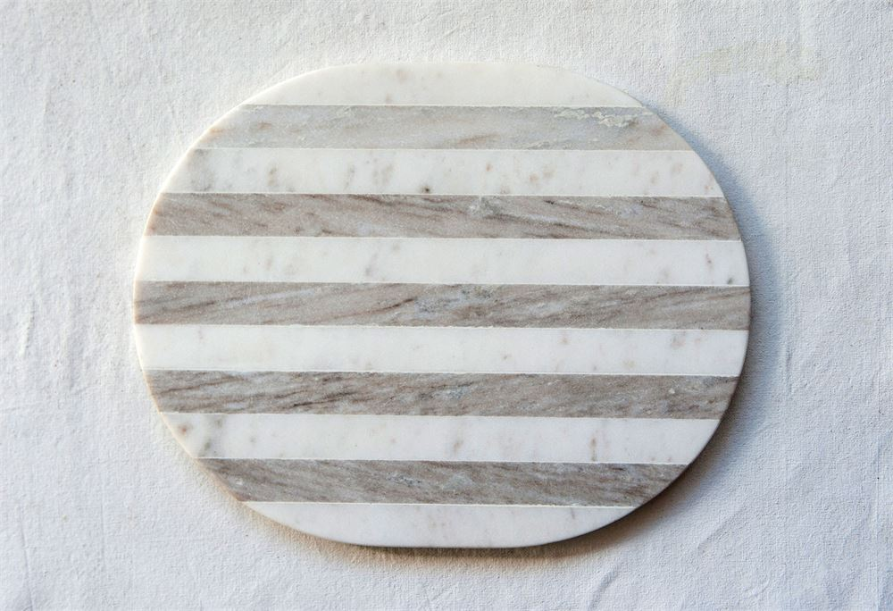 Marble Cheese / Cutting Board in Grey & White Stripe