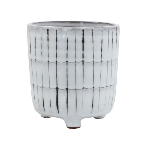 Terra-cotta Footed Planter, White & Black by BD Edition