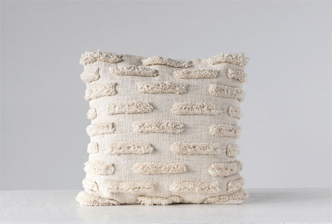 Square Woven Cotton Pillow with Fringe in Natural