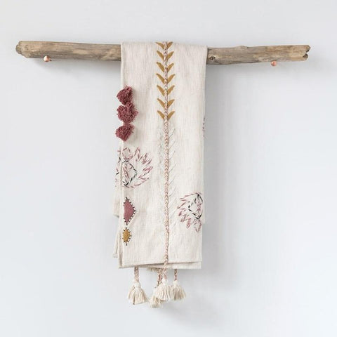 Cream Embroidered Throw with Tassles