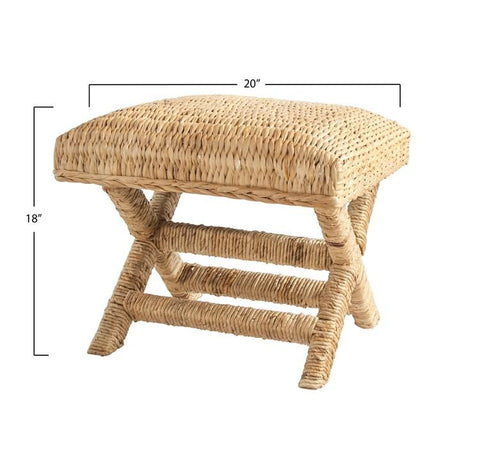 Woven Water Hyacinth & Wood Stool