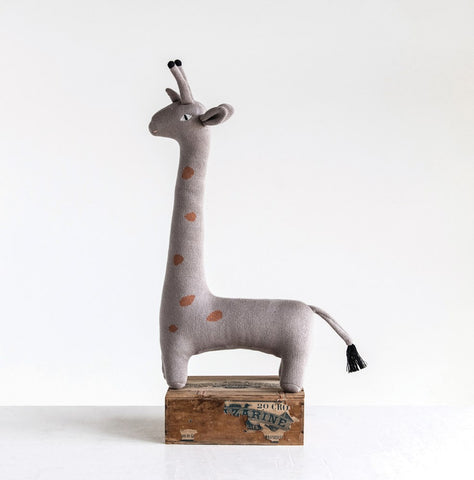 Grey Knit Giraffe