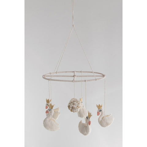 Cream Felt Swan Mobile with Pom Pom