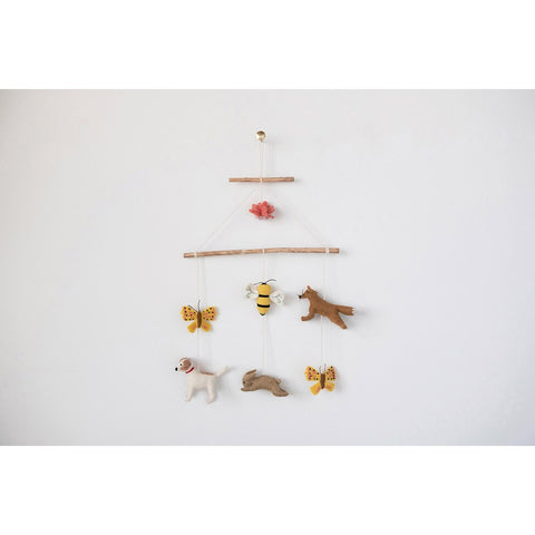 Wood and Felt Animal Mobile